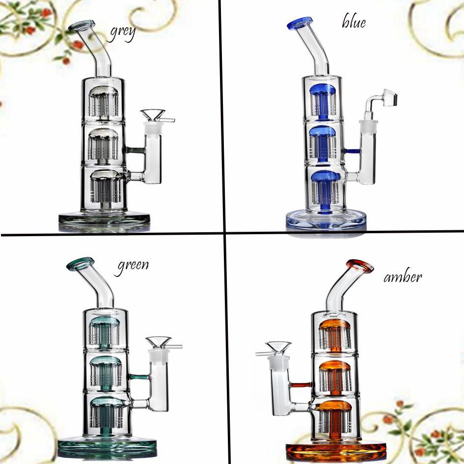 12.9 인치 높이 유리 봉 물 담뱃대 Shisha Waterpipes Recycler Dab Rigs 두꺼운 안경 물 봉유 오일 장비 애쉬 포수