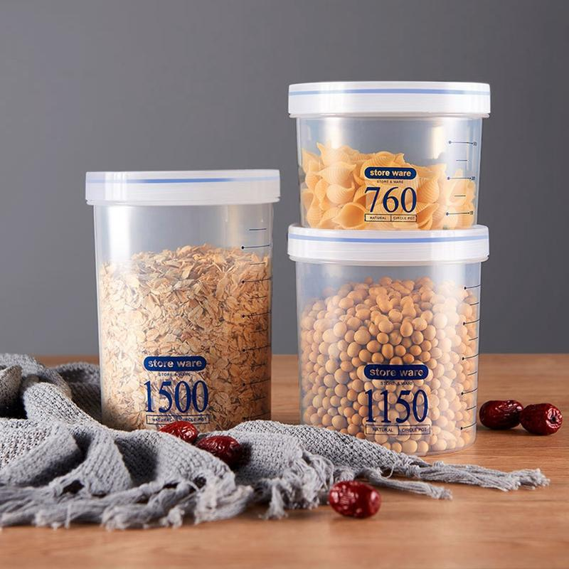 Sealed Storage Box Crisper Grains Food Storage Tank Household Kitchen Food Containers for Dry Cereals Measure Cups Kitchen Tool DBC BH3864