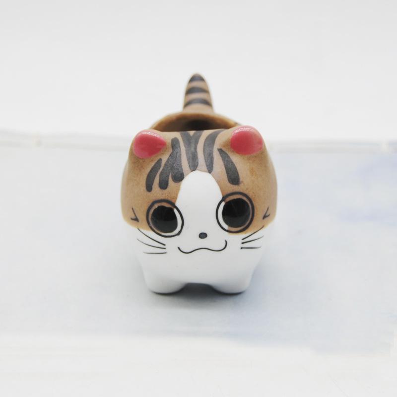 Мультфильм Pet Cat Окрашенные Горшок ручной работы Керамические цветочные горшки Горшки для сочной бытовой Tabletop Портативный 2 9jc E1