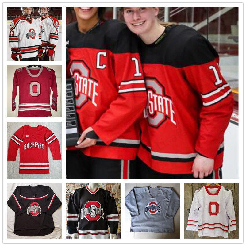 Пользовательские штата Огайо Buckeyes Hockey Джерси Big Ten мужской женщин молодость нашит Любой номер Название Размер S-5XL