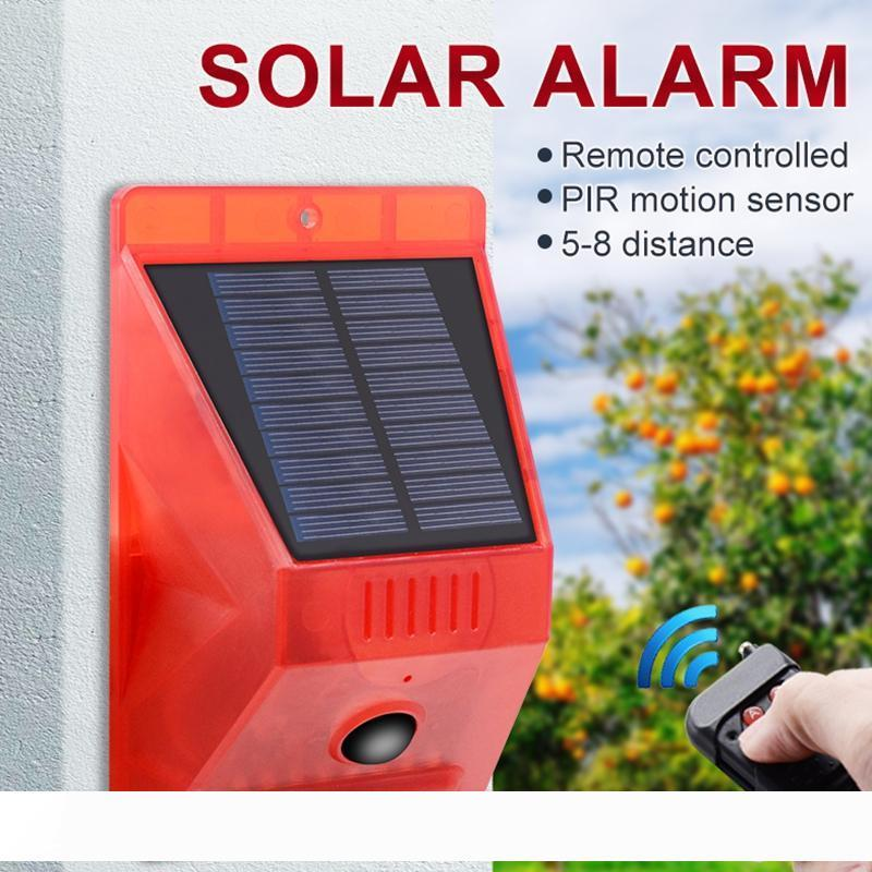 Edison2011 New Solar Strobe Light Alarm Lights 8 LEDs Motion Sensor Security Alarm Lamp 129db Sound Security Siren