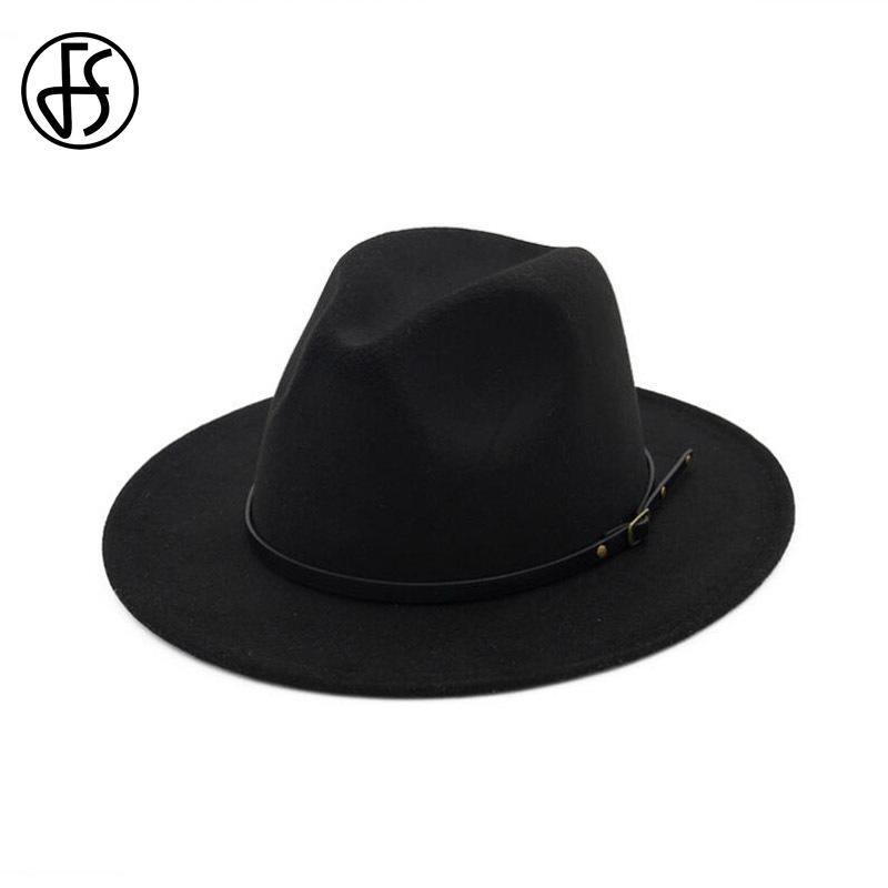 FS صوف بريم على نطاق واسع ورأى قبعة فيدورا للرجال أسود تريلبي جاز قبعات النساء بنما العصابات قبعات خريف وشتاء قبعات T200715