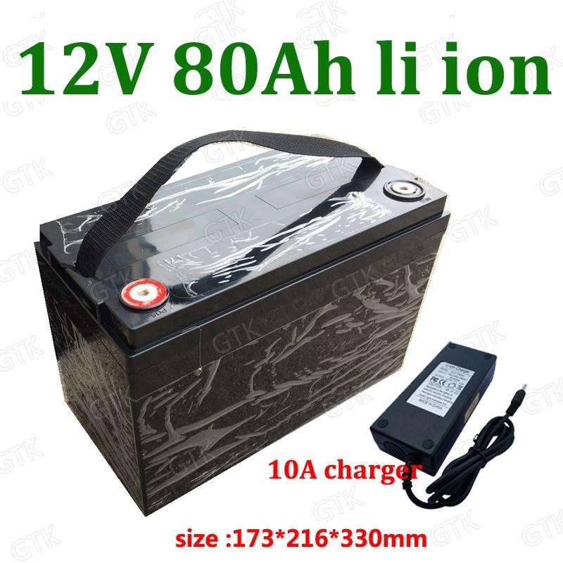 водонепроницаемый 12V 80Ah литий-ионная аккумуляторная Батерия 12v 80Ah Li BMS 3s для сабвуфера кемперы Golf автомобиля шлюпки RV + 10A зарядное устройство