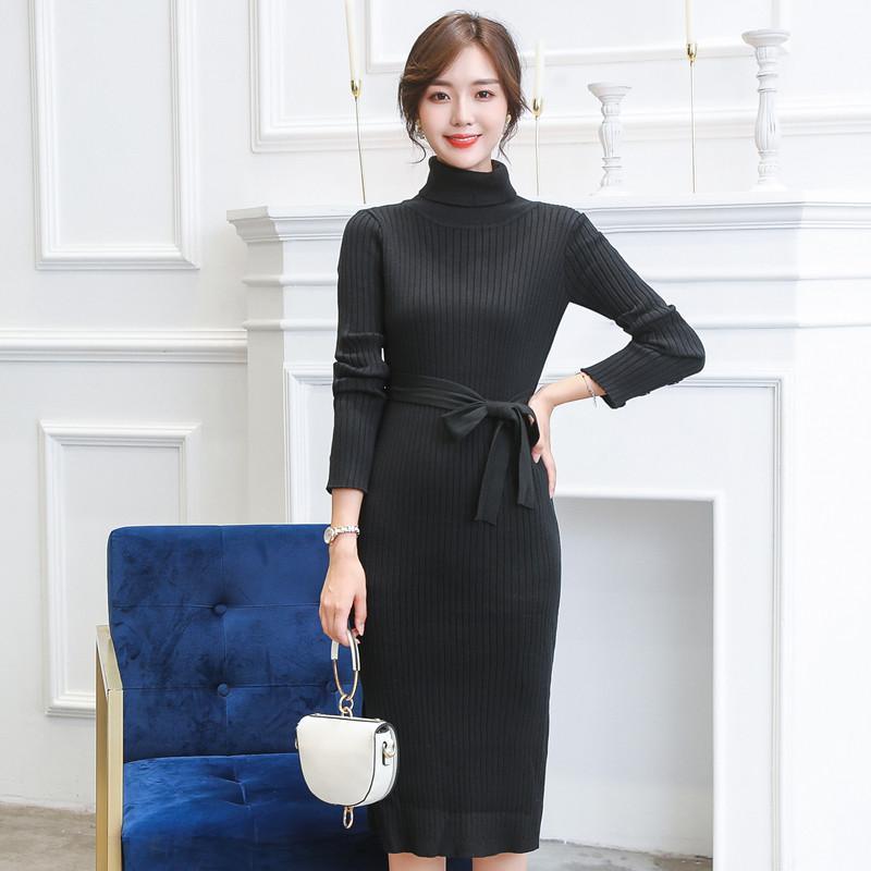 Sonbahar Kış Sıcak Örme Kadınlar Elbise FashionTurtleneck Bölünmüş Triko Elbise Giydirme Kadın mujer örme