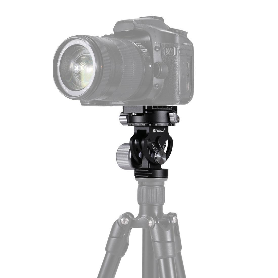 PULUZ 2-Way Pan/Tilt Tripod Head Panoramic Photography Head with Quick Release Plate & 3 Bubble Level