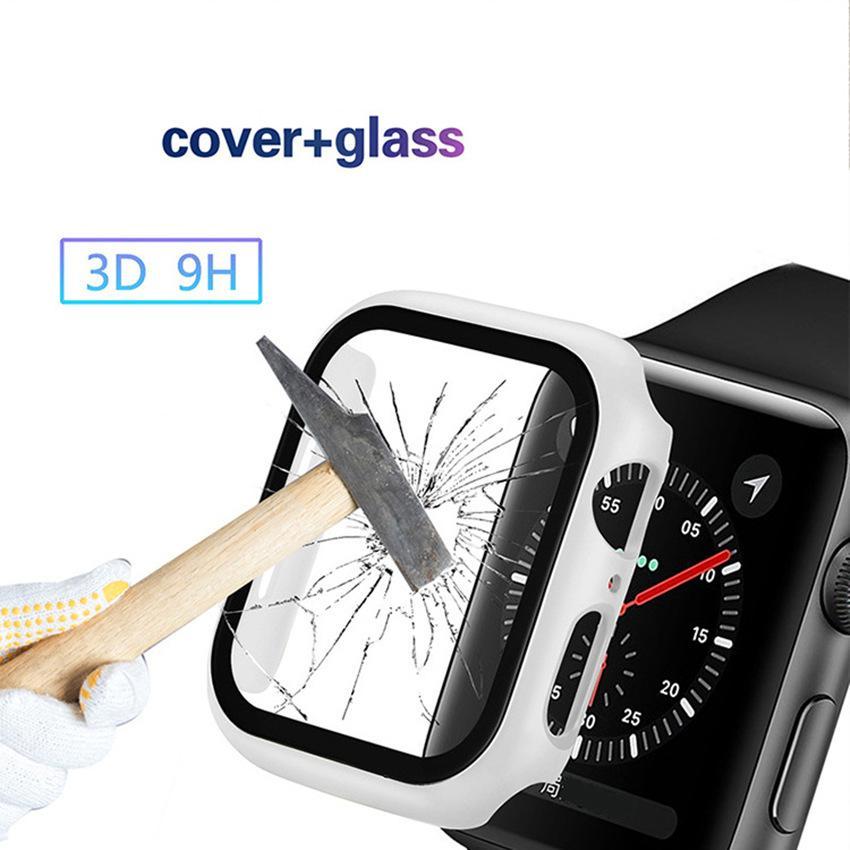 كامل الشاشة حامي لiWatch 38MM 42MM 40MM 44mm وغطاء الإطار PC الحالات الصعبة مع الزجاج المقسى فيلم لشركة آبل ووتش 5/4/3/2/1 iWatch