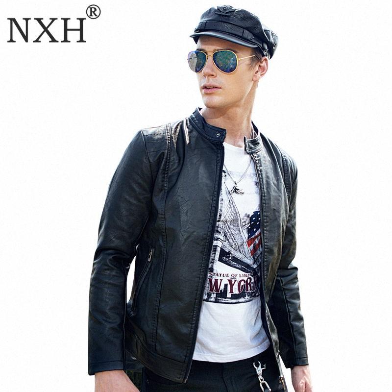 NXH Classic Stand Collar PU Jacket Slim Fit Motorcycle coat Wool Liner Jaket Men Deri Ceket Jaqueta De Couro Faux Leather 2QjP#