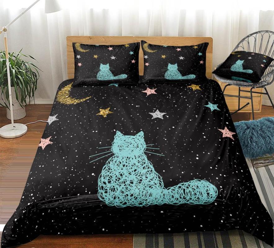 Çocuklar Dropship Space Galaxy Kedi Nevresim Seti Kraliçe Karikatür Nevresim Hayvan Yatak Takımı Pet yatak çarşafları 3adet Yıldız Yatak