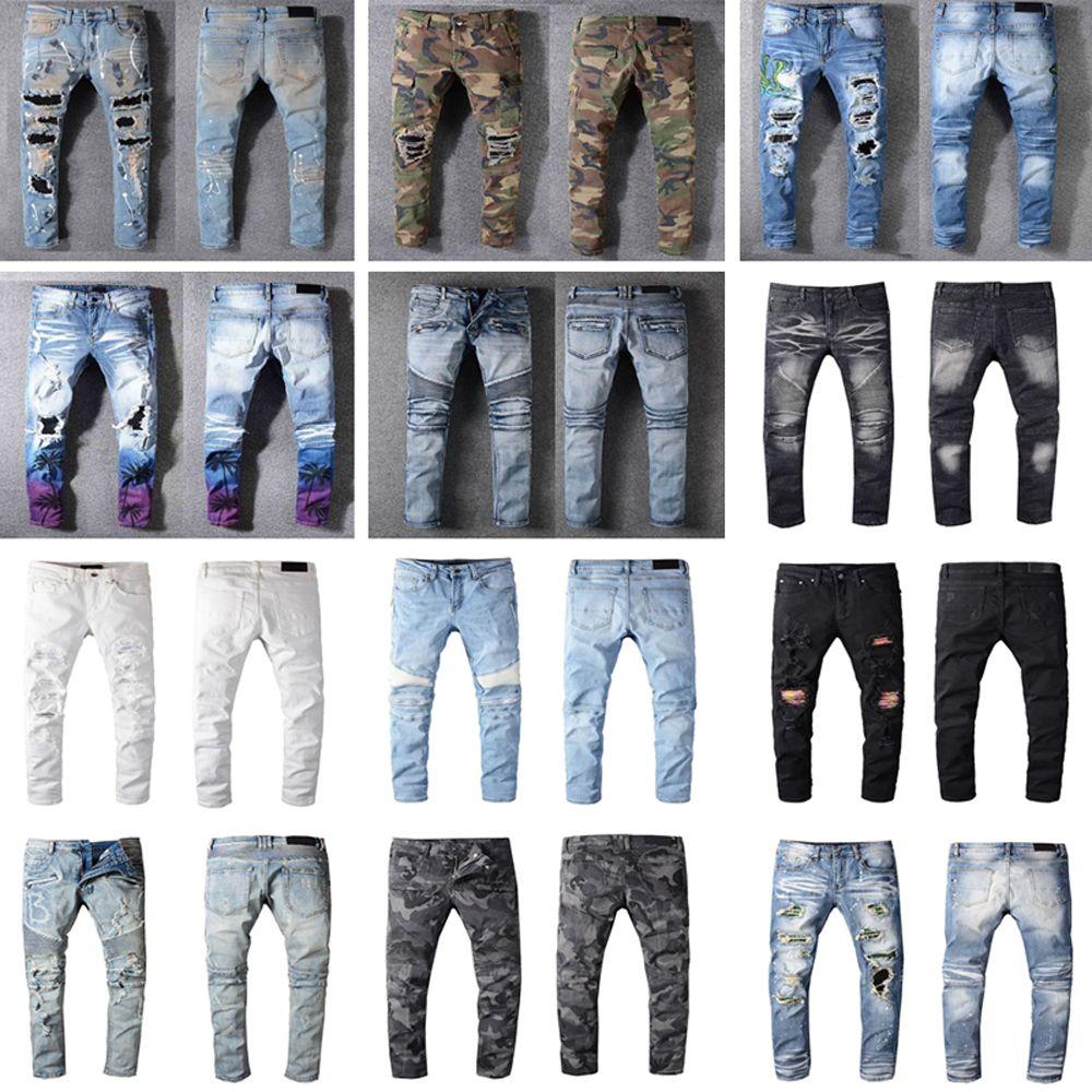 Afligido França Moda Pierre Hetero Jeans Masculinas Biker Jeans Buraco estiramento Denim Casual Jean Men Skinny Calças Elasticidade Calças rasgadas
