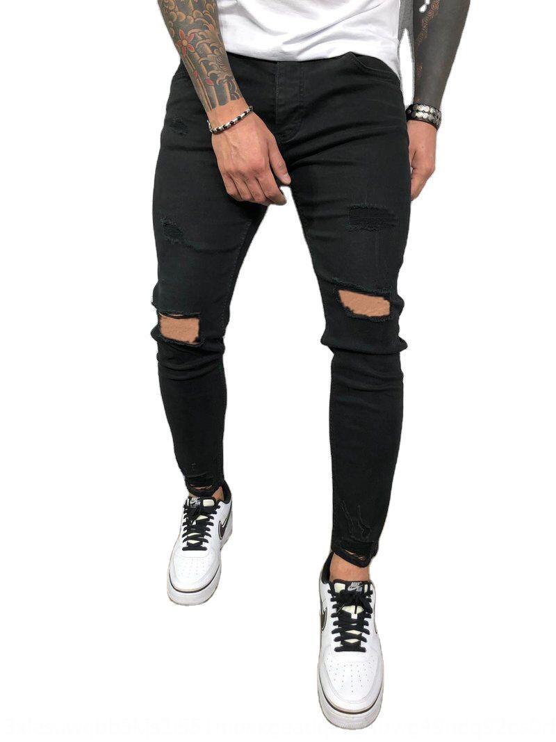 Nueva jeans rasgados flacos elásticos lagrimeo pantalones vaqueros apretados pantalones apretados de los hombres flacos 8812