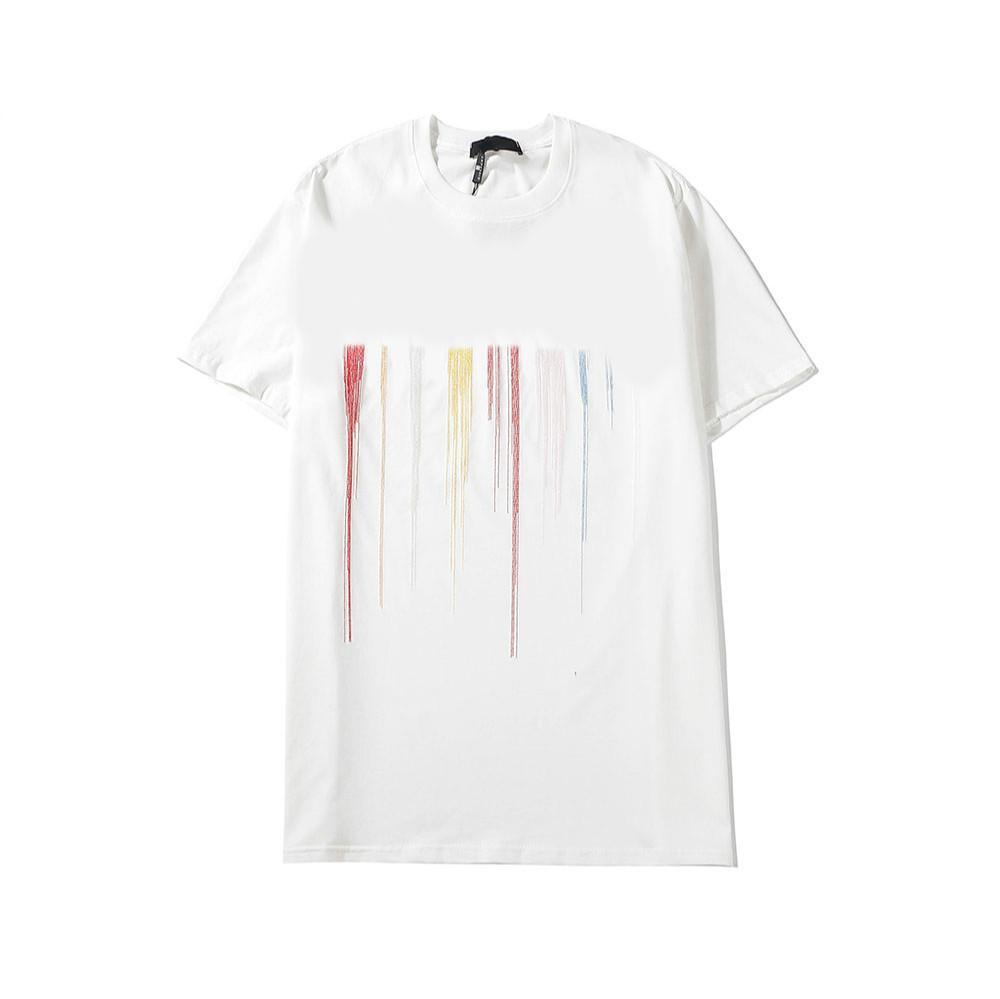 Новый стильный Men T Shirt Letters Вышивка Tops 2020 Летний Новый Hiphop Streetwear для мальчиков вскользь цветастая 2020 Высокое качество одежды