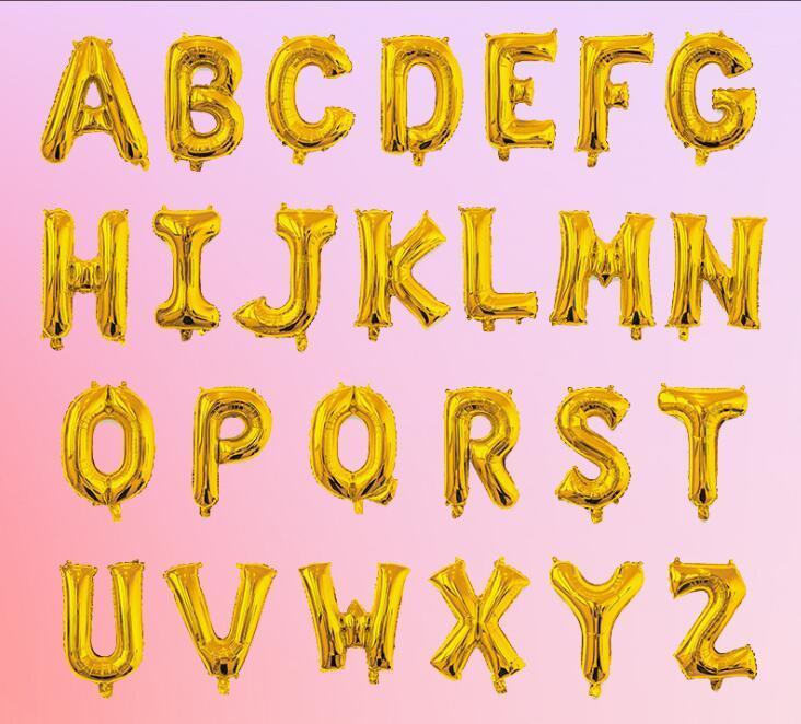 balonlar ücretsiz kargo altın / gümüş parlayan folyo popüler 16 inç A ~ Z mektup alfabe / altın yükseldi