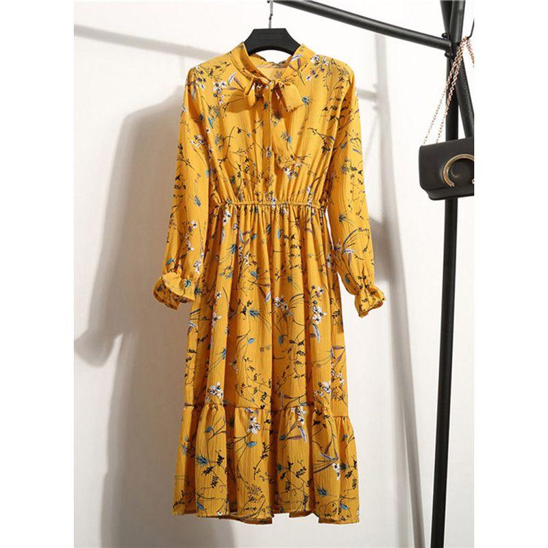 Frauen-beiläufige Herbst-Kleid-Dame-koreanischer Art-Weinlese-Blumenmuster Chiffon Hemdkleid Langarm-Bow Midi-Sommer-Kleid Vestido