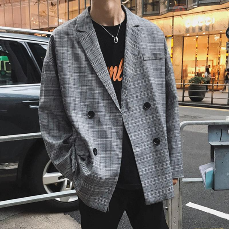 2019 Spring England Style Young Fashion Double Breasted Plaid Blazer Men Oversize Casual Suit CX200725