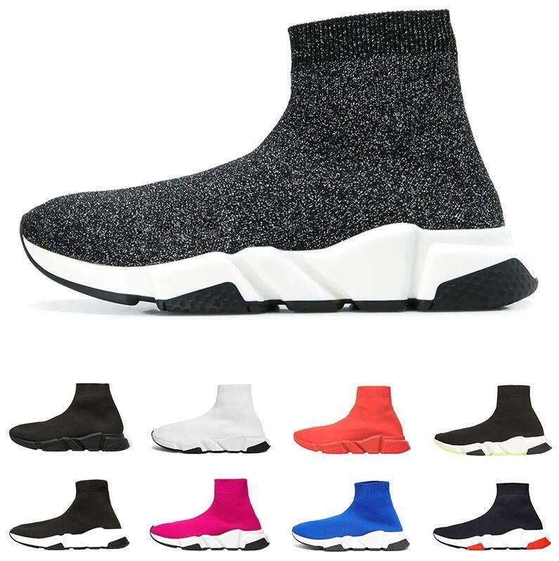 Meias de designer sapatos homens das mulheres da forma tênis instrutor velocidade Preto Azul Branco Pink Glitter homens formadores calçados casuais Runner pesado único A601