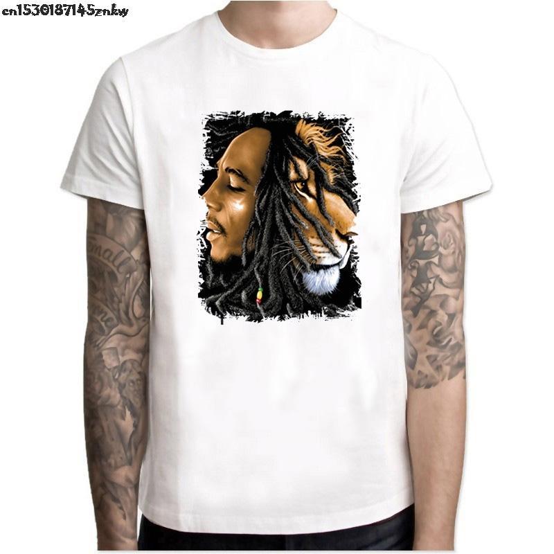 Боб Марли Printed T Shirt Новая мода Мужчины Музыка Стиль Мужские футболки Homme Марка Одежда Рок Хип-хоп Tee Повседневный Tops P37