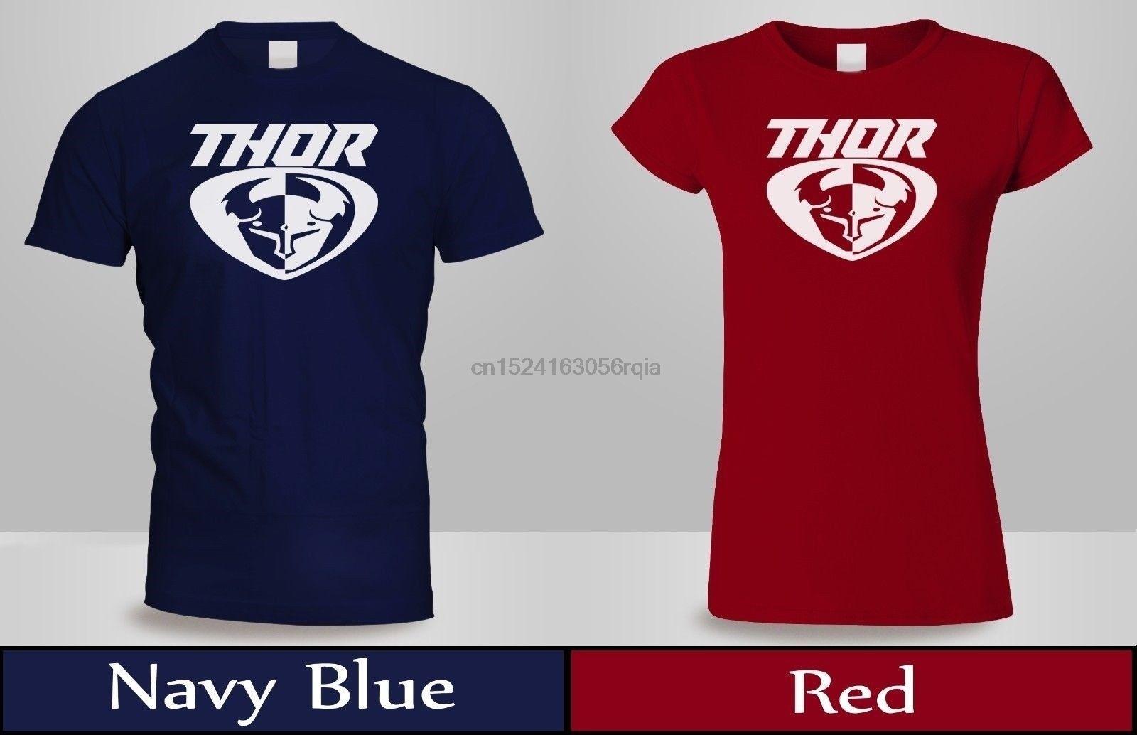 Thor MX Loud Motokros Off Road Dirt Bike Tişört MensWomens Kırmızı Lacivert Tee