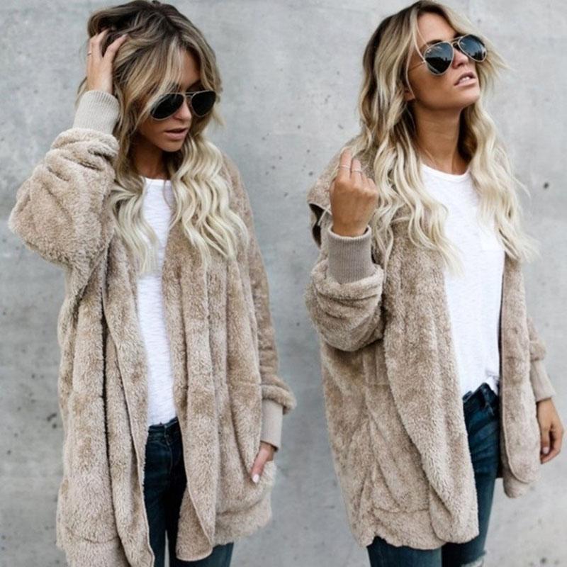 Explosion Damen Mantel Europa Amerika New Herbst-Winter-Mode Pullover Mäntel Medium lange Strickjacke Cashmere Overcoat Weiblich