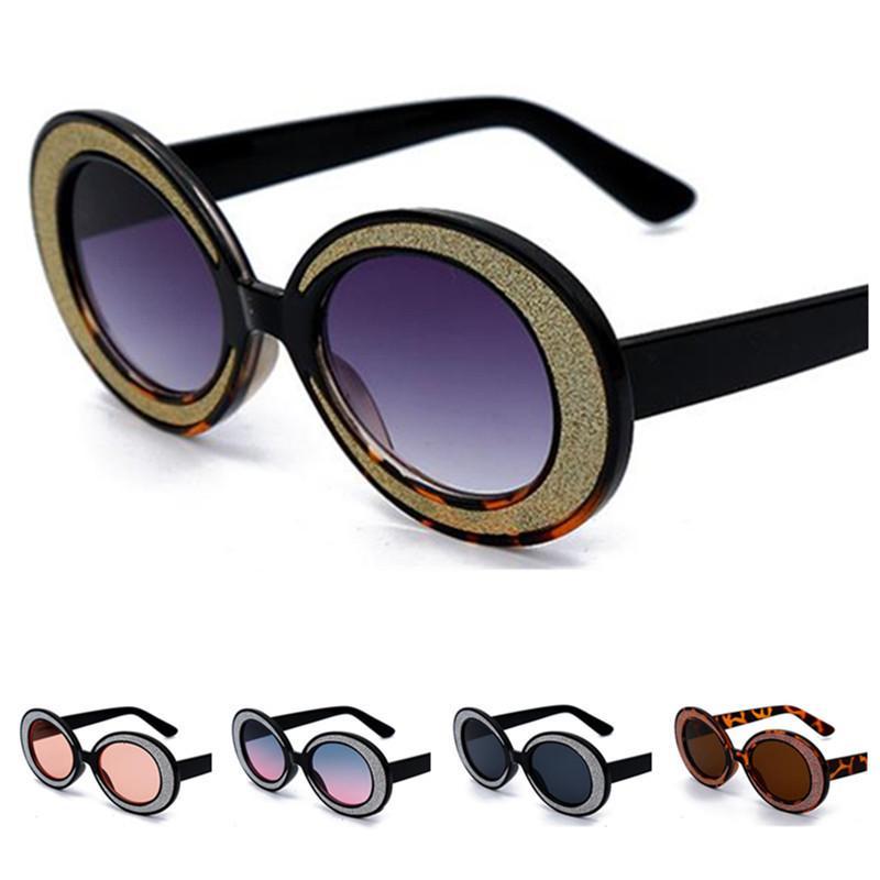 Gafas de sol de la moda de las mujeres de la personalidad del óvalo Sun lentes de los vidrios anti-UV Gafas de colores montura de las gafas Adumbral 7 colores A ++