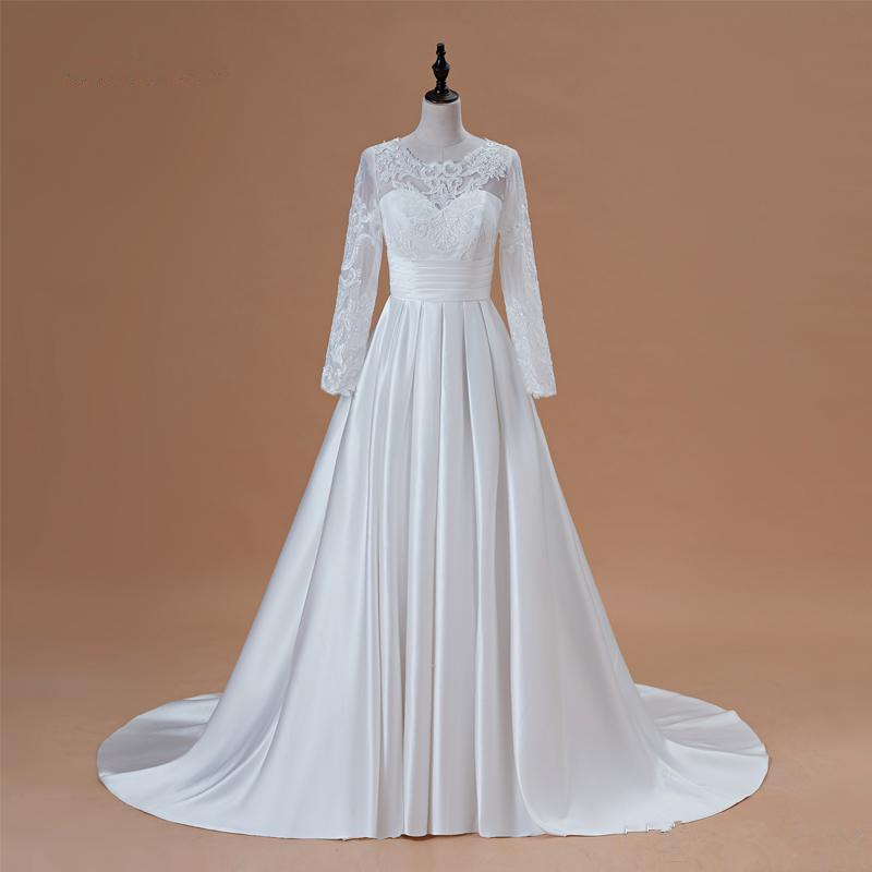 Robe modeste à manches longues de mariée 2020 Scoop satin Appliqued A-ligne de robe de mariée avec poches Vestidos de Novia