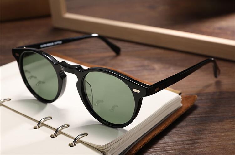 Hot-vente Vintage Gregory Peck OV5186 rond lunettes de soleil HD polarisée UV400 lense 45-23-145 légère unisexe importée-planche pur Fullset cas