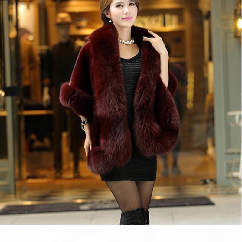 Elegante Warm donne Faux visone inverno del cachemire cappotto di pelliccia dello scialle del Capo Moda Solid signore Faux Fur Poncho HO704471