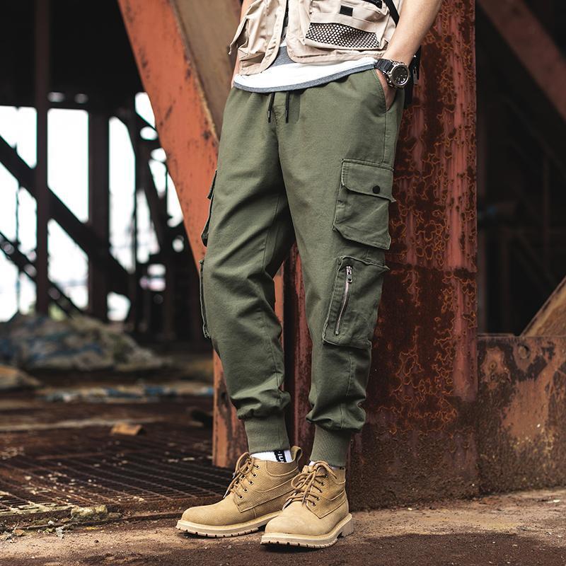 Januarysnow Streetwear pantalón basculador pantalones casuales hombres de algodón multi-bolsillos hombre de Hip Hop Harem pantalones del resorte del nuevo Mens de Carga
