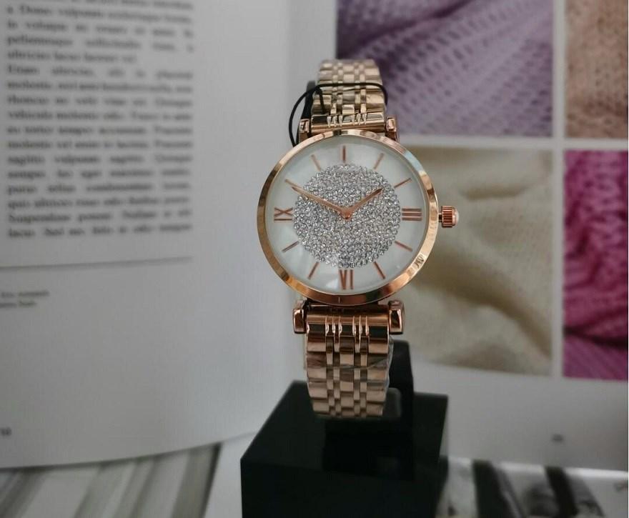 패션 고급 여성 다이아몬드 로즈 골드 황금 316L 스테인레스 스틸 아가씨 팔찌 손목 시계 여성 시계 시계 시계