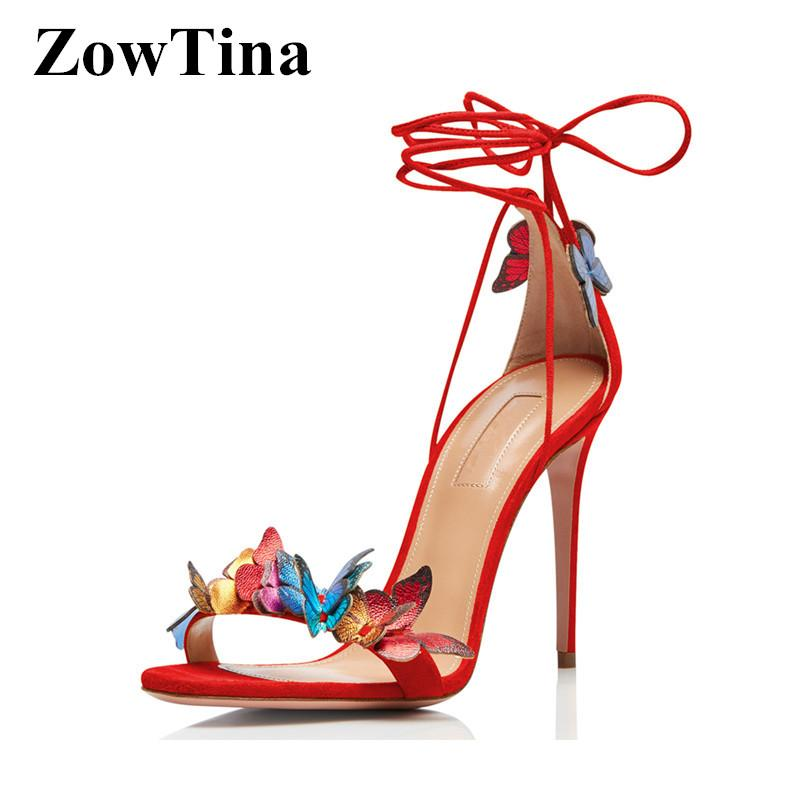Yeni 2020 Moda Kadınlar Bilek Kayışı Sandalet Kırmızı Gelin Yaz Düğün Ayakkabıları Kelebek Dekor Yüksek Topuklar Prom Altın Sandalias pompaları
