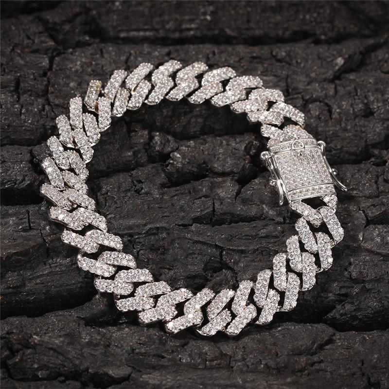 12mm Hiphop-Diamant-Armband Miami Cuban Kette 18K Gold überzog Hip Hop Schmuck Männer Luxusgliederkette
