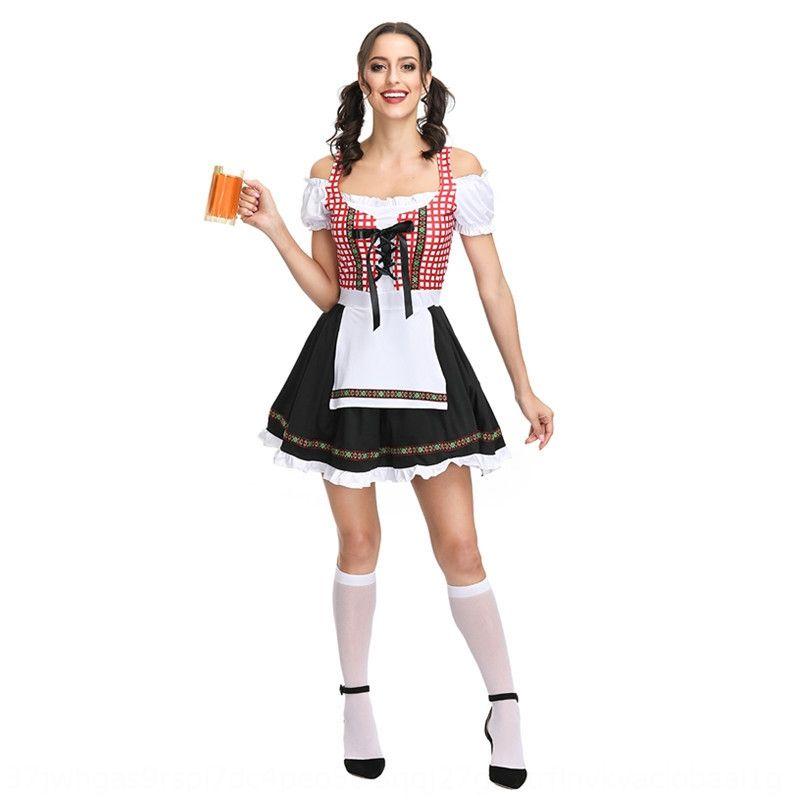 abito QFY4K bavarese COS tedesco festival di costume di Halloween gonna lunga Bar BAR Birra pannello esterno lungo birra Restaurant