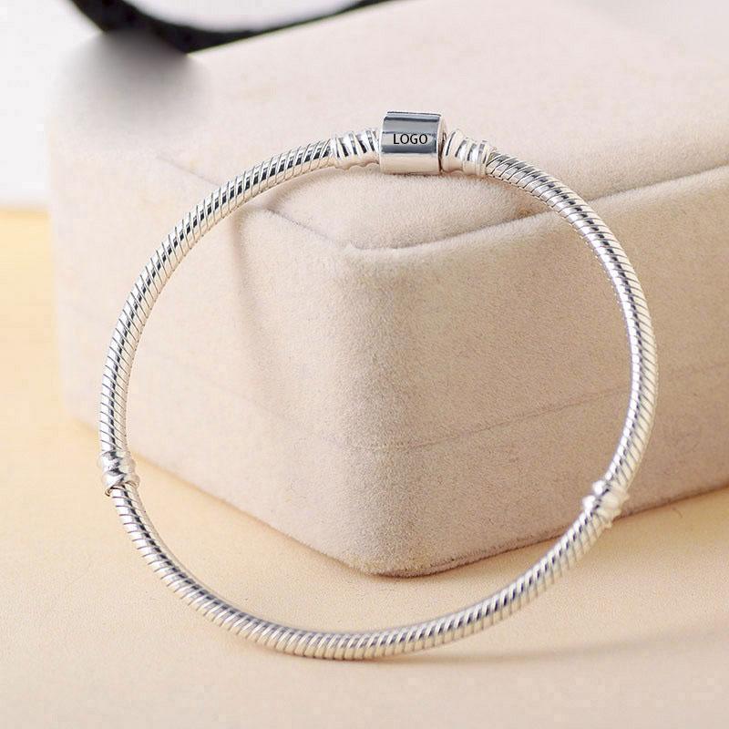 Argent 925 Barrel fermoir serpent Bracelet chaîne FITS Charms et perles européennes Bracelets Pandora