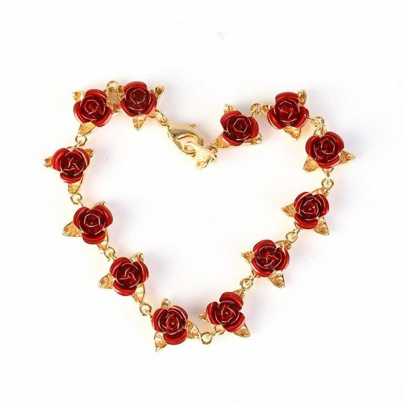 Красная роза Браслет Цветы Wrist цепи Charm День Святого Валентина подарок для женщин Свадьба невесты браслет свадьба Подарки Ab91 #