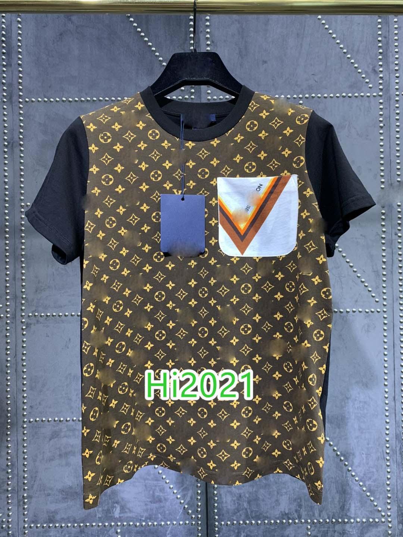 하이 엔드 여성 여자 캐주얼면 포켓 티셔츠 티 모노그램 문자 인쇄 크루 넥 짧은 소매 블라우스 스웨터 2020 패션 디자인 정상