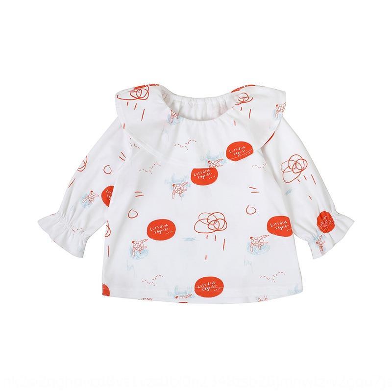 LOb5L Anno -0 molla del bambino di 5 T-shirt vestiti T-shirt in cotone cotone stampato collare Lotus ragazza