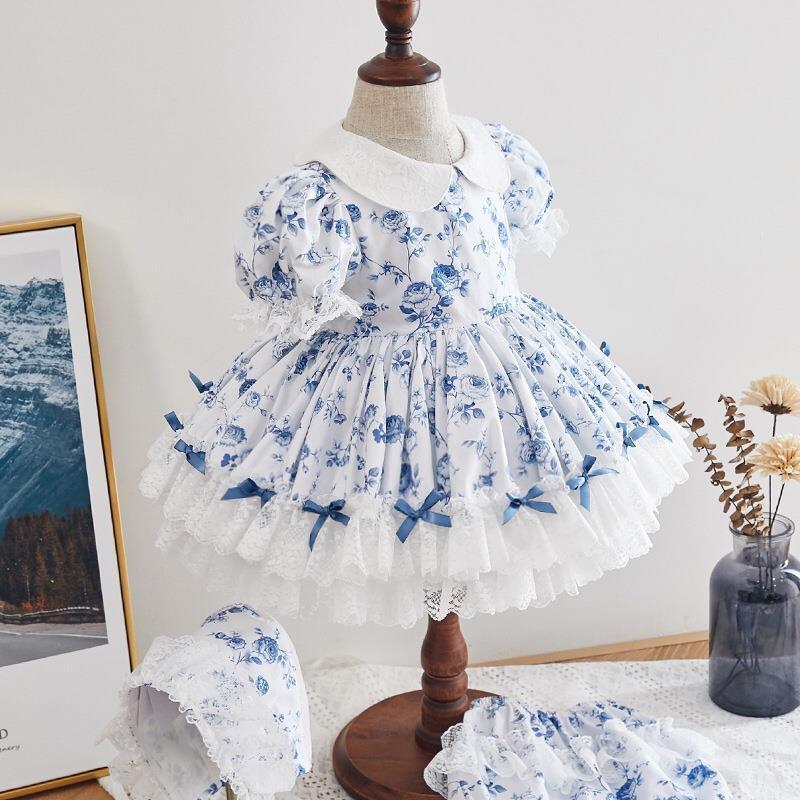 2PCS ребёнка Одежда 2020 лето нового испанских девушки платье печать Сладкой смазливое платье Турция Урожай принцесса платье для девочки Y2925 T200716