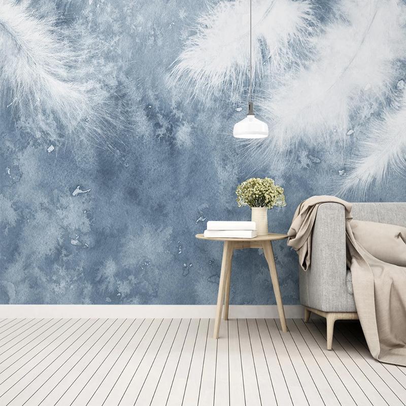 La foto de encargo del papel pintado abstracto pluma grande del Mural de niños del dormitorio sala de estar pintado pared Pintura Papel de parede