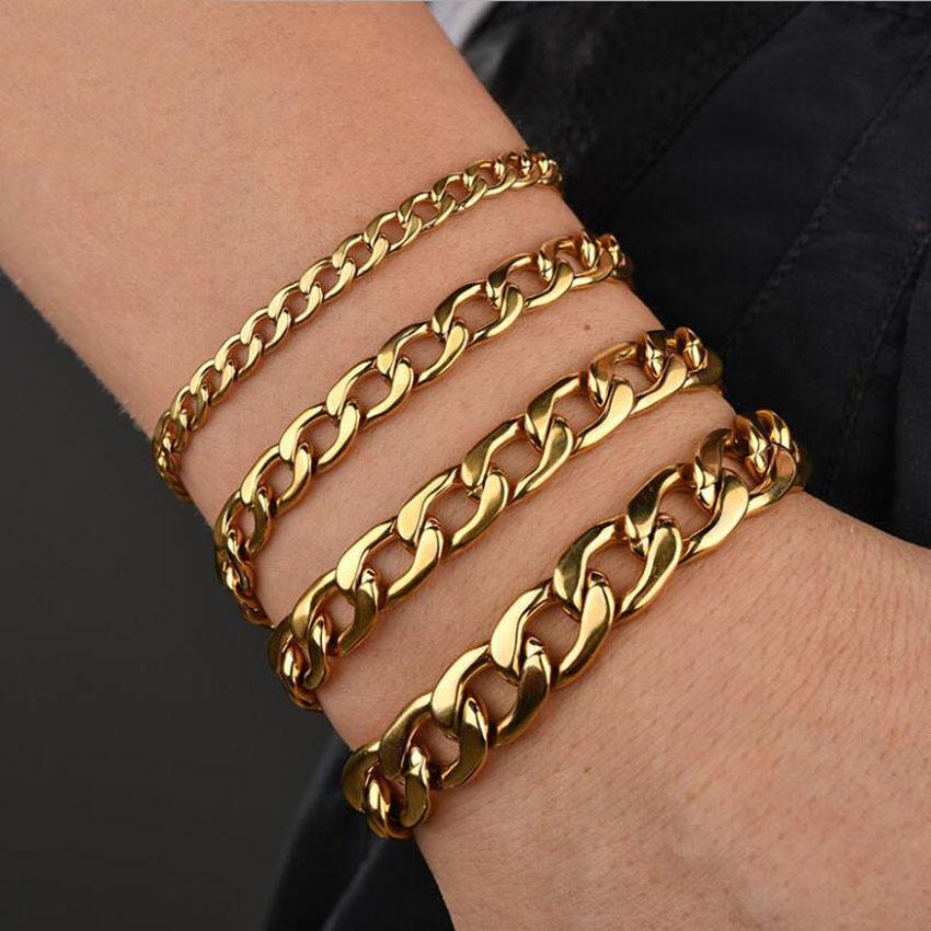 Gold Chains Bracelet For Men 9 inch Hot Sale Titanium Steel Link Chain Bracelets 22cm Fashion Jewelry wholesale Free Shipping - 0923WH