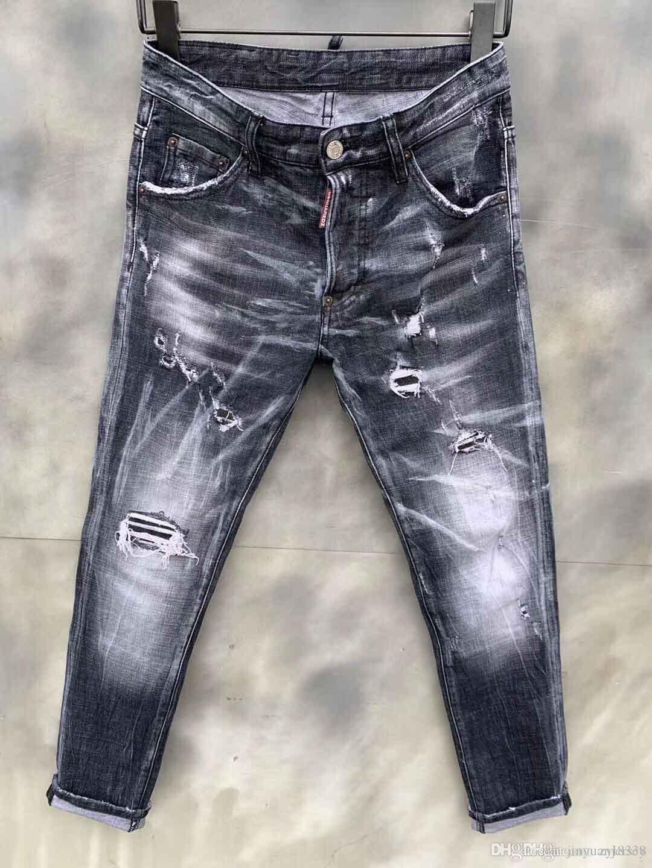 Erkekler Stilist Jeans Delik Fermuar Yüksek Kalite Erkekler Jeans Biker Motosiklet Erkekler Pantolon Siyah Boyut 28-38