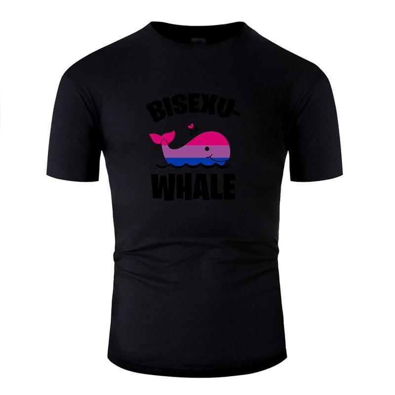 Kişiselleştirilmiş Yaz Tişört Doğal Ünlü Çizgi Erkekler Bisexuwhale Biseksüel Balina Balık Komik LGBT Çizgi tişörtleri 2020