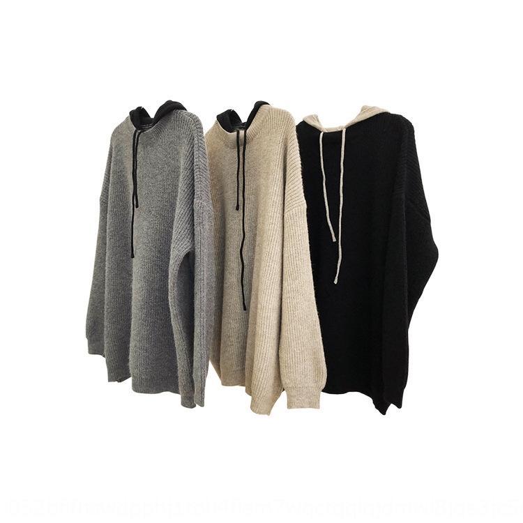 Fu informal invierno Nueva Corea perezosa Lu contraste estilo adelgaza superior suéter de color superior suéter encapuchado espesó de punto flojo para las mujeres T5RZn