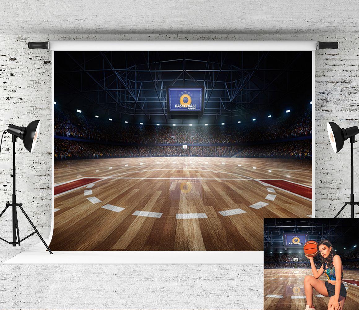 Spor Temalı Parti Backdrop ateş Fotoğraf Stüdyosu Prop için Rüya 7x5ft Basketbol Sahası Fotoğrafçılık Backdrop Gece Işığı Ahşap Zemin Arkaplan