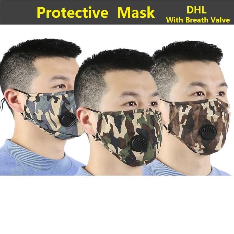 Yüz Vana Ayarlanabilir Tekrar Kullanılabilir Kamuflaj Ağız Maskesi Nefes Anti Toz Koruyucu Maskeler 300PCS Nefes ile Anti-Dust Kulak askısını Maske