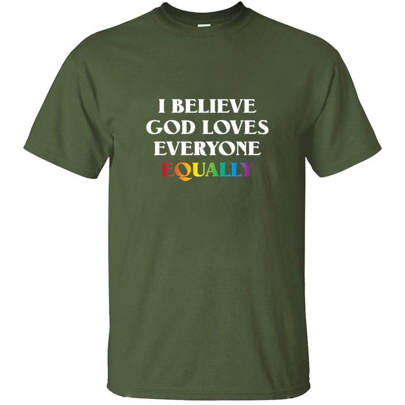 Я верю, что Бог любит всех одинаково LGBTQ футболки для Mens Kawaii Gents Удивительный мальчик девочка Tshirts Завышение S-5xl Hiphop