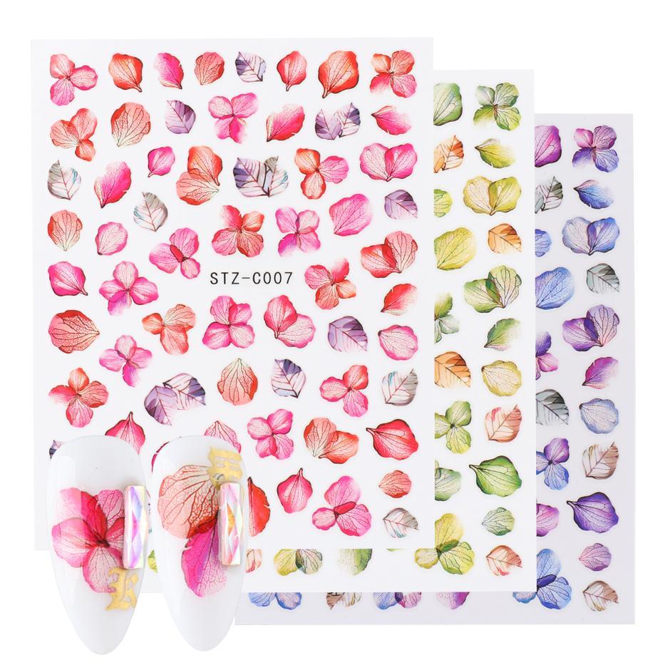 Real Flower Nail Art Adesivi Adesivi 3D Decalcomanie Adesivi Foglia Farfalla Maple Nails Design Colorful Decoration Wraps Chstz-C01-11