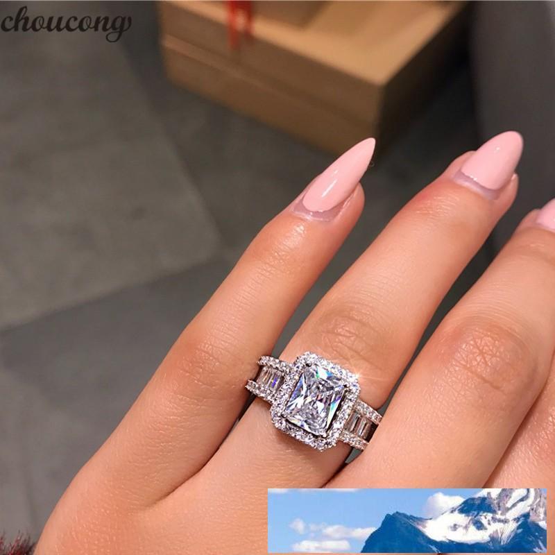 مجوهرات مذهلة 925 ريال فضة الأميرة قص الأبيض خاتم توباز CZ الماس الخلود خاتم الزواج للمرأة