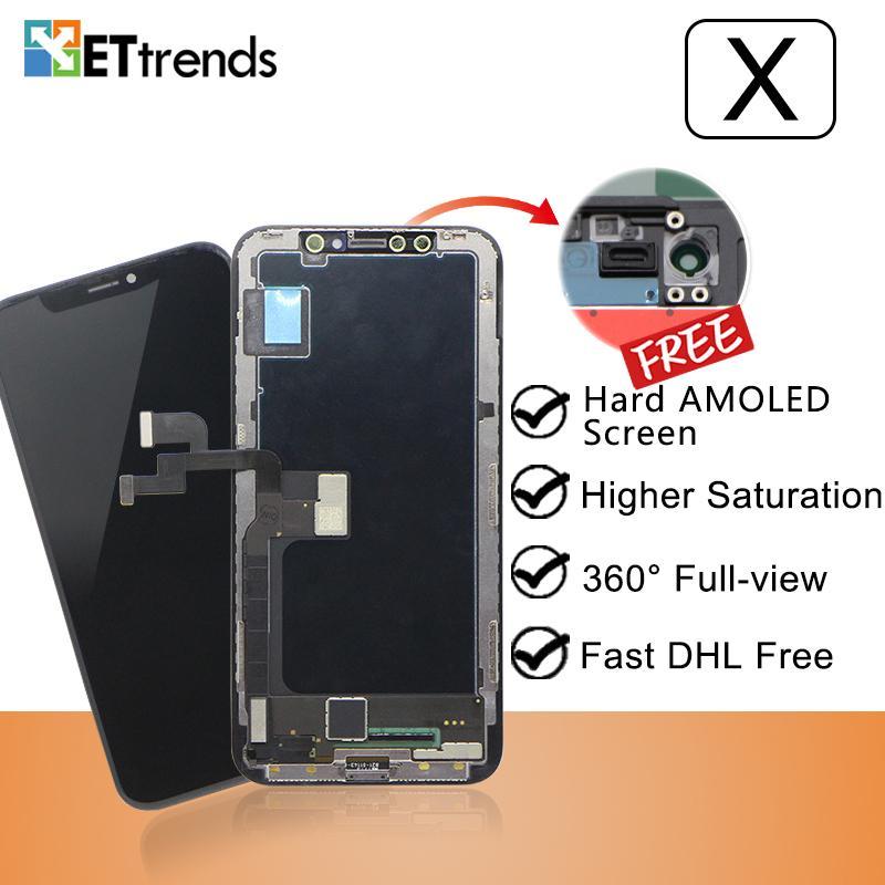 Tela de qualidade A + Difícil AMOLED para o iPhone X Assembleia digitador cor perfeita com a DHL frete grátis Lifetime Warrranty