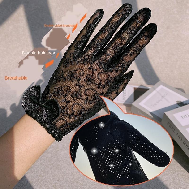 8X4nm dentelle véritable vélo trou respirant la conduite d'été en cuir écran tactile dentelle performance scénique de protection solaire de bicyclette gants minces pour