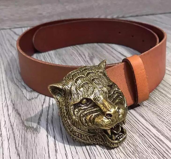 Cinturón de piel felina diouman447447 con estilo de la hebilla del cinturón de serpiente Blooms 409420 abeja dragón felino cabeza del tigre de la hebilla de la correa de los hombres con la caja Oficial