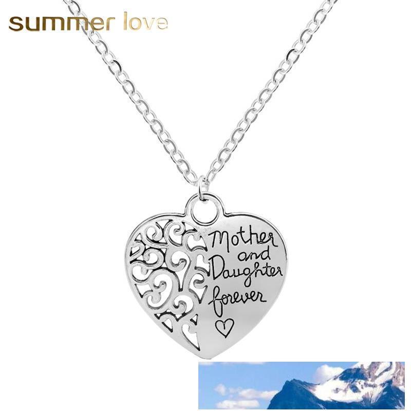 Heißer Verkauf Herzform Mutter und Tochter Anhänger Halskette für Frauen-justierbare Silber Überzug Hohl Kette Halskette Schmuck Geschenk